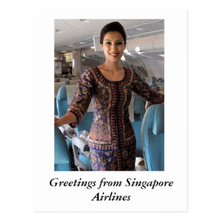 GREETINGS FROM SINGAPORE AIRLINES POSTCARD