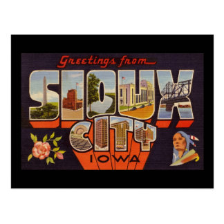 Greetings from Sioux City Iowa Postcard