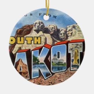 Greetings From South Dakota Ceramic Ornament