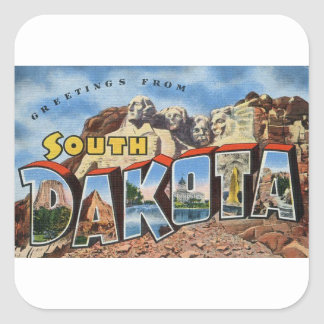 Greetings From South Dakota Square Sticker