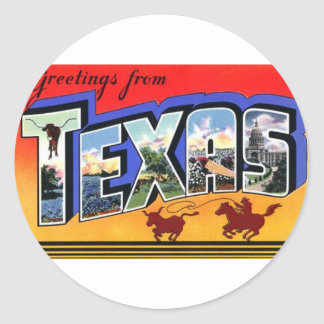 Greetings From Texas Classic Round Sticker