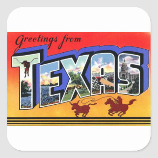 Greetings From Texas Square Sticker