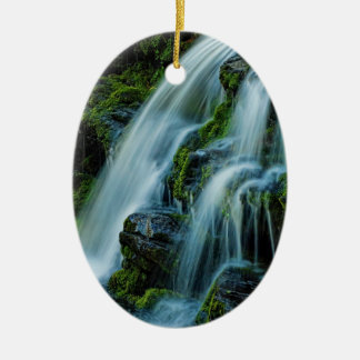 Greetings from the Poconos Beautiful Waterfall Ceramic Ornament