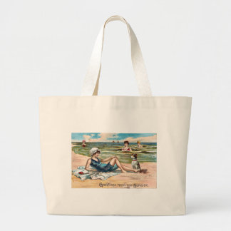Greetings from the Seaside!  Vintage postcard Large Tote Bag