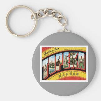 Greetings From Topeka Kansas Basic Round Button Keychain