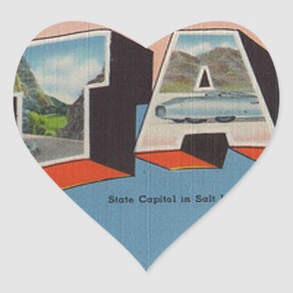 Greetings From Utah Heart Sticker
