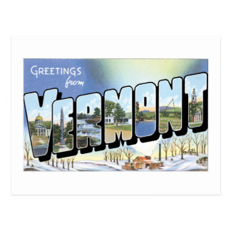 Greetings from Vermont! Vintage Post Card
