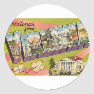 Greetings From Virginia Classic Round Sticker