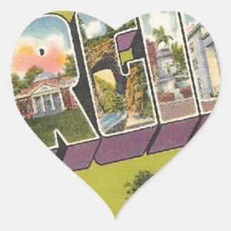 Greetings From Virginia Heart Sticker