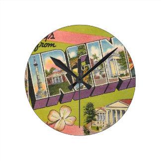 Greetings From Virginia Round Clock