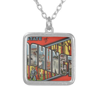Greetings From Washington Silver Plated Necklace