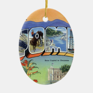 Greetings From Wyoming Ceramic Ornament