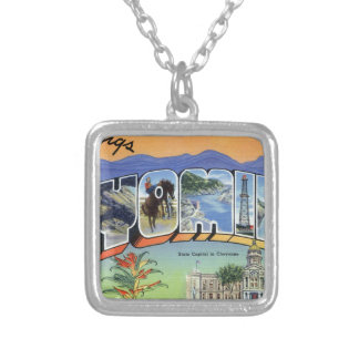 Greetings From Wyoming Silver Plated Necklace