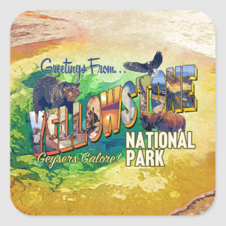 Greetings from Yellowstone National Park Square Sticker