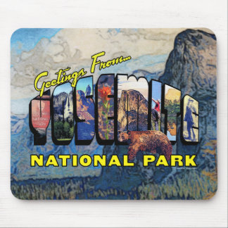 Greetings From Yosemite National Park Mouse Pad