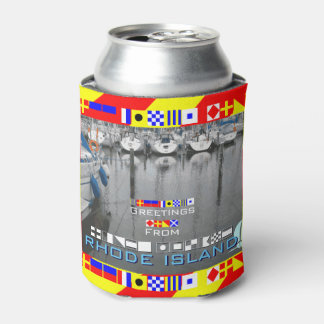 Greetings Rhode Island Nautical Flags personalized Can Cooler
