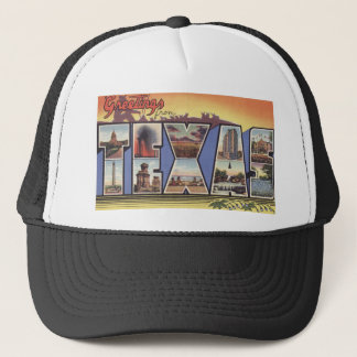 Greetins from Texas Large Letter vintage theme Trucker Hat