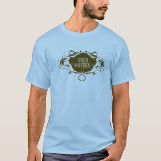 GregHaydenLogoBrown on Blue T-Shirt
