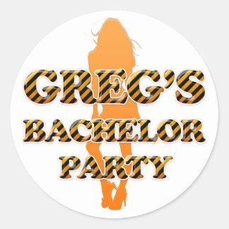 Greg's Bachelor Party Round Sticker