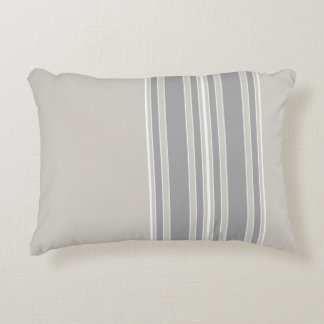Greige and Gray Stripes Off-Center Modern #D3CFC7 Decorative Pillow