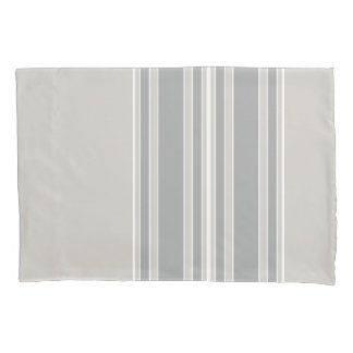 Greige and Gray Stripes Off-Center Modern #D3CFC7 Pillowcase