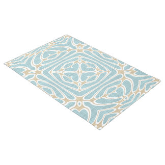 Greige Seafoam Green Taupe Brown Batik Pattern Doormat
