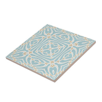 Greige Seafoam Green Taupe Brown Batik Pattern Tile