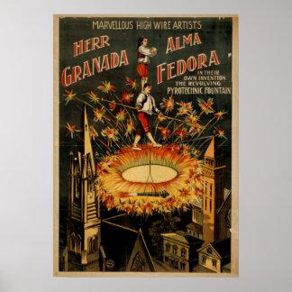 GRENADA FEDORA High Wire Act VAUDEVILLE Poster
