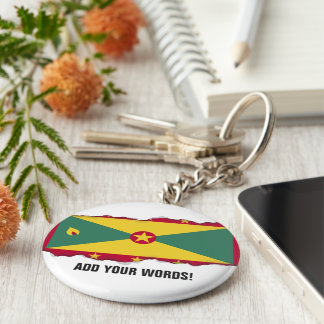 Grenada Flag Basic Round Button Keychain