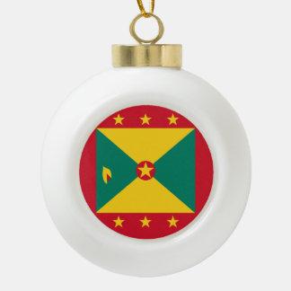 Grenada Flag Ceramic Ball Christmas Ornament
