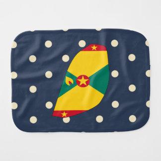 Grenada Flag Map on Polka Dots Burp Cloth