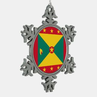 Grenada Flag Snowflake Pewter Christmas Ornament