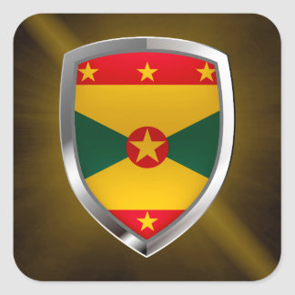 Grenada Mettalic Emblem Square Sticker