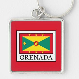 Grenada Silver-Colored Square Keychain
