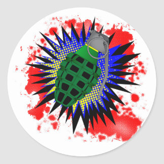 Grenade Comic Exclamation Classic Round Sticker