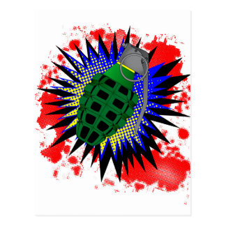 Grenade Comic Exclamation Postcard