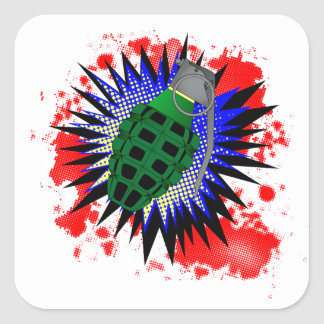 Grenade Comic Exclamation Square Sticker
