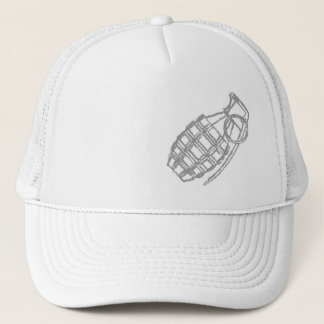 grenade on white cap