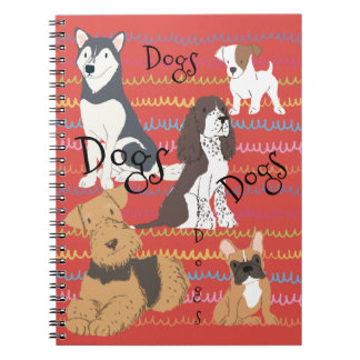 Grenadine Red Backs the Dog Crowd Spiral Notebook