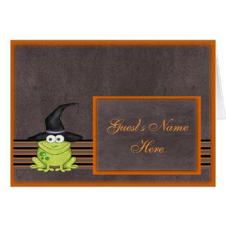 Grenouille adorable dans un casquette Halloween de Carte De Correspondance