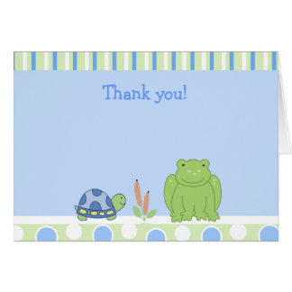 Grenouille amicale et note de Merci pliée par tort Cartes De Vœux