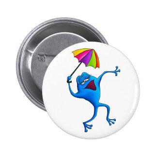 Grenouille bleue de chant avec le parapluie macaron rond 5 cm