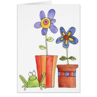 Grenouille et fleurs - carte de note