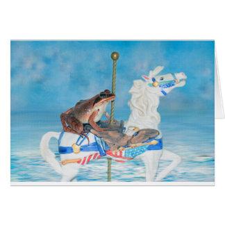 Grenouille mignonne sur un cheval de beuverie carte de vœux