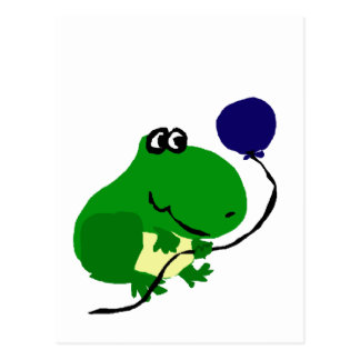 Grenouille verte drôle tenant le ballon bleu carte postale