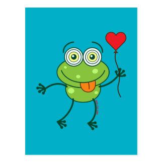 Grenouille verte étant amoureuse follement cartes postales