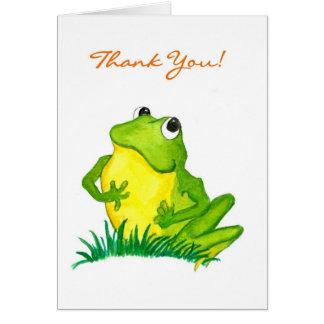 """Grenouille verte """"Merci !"""" Carte pour notes"""