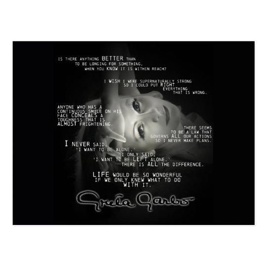 Greta Garbo Quote Post Card