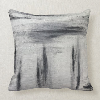 Grey Abstract Painting Pillow