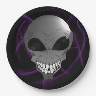 Grey alien Custom Paper Plates 9""
